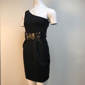 Lovely Day one sleeve little black dress with belt